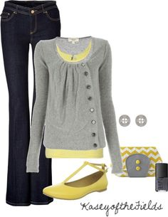 Cute fall look grey and yellow outfit