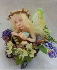 Cammie OOAK Fairy in Bird's Nest Fairies Art Doll Sculpture Polymer Clay Figure #Handmade