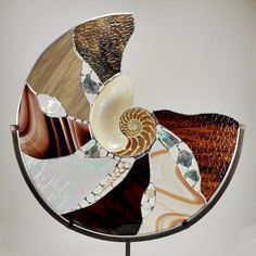 """Sku 4984 18"""" Nature's Glory Brown Stain Glass Nautilus Decor by My Wildest Dreams Studio"""