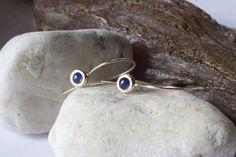 ♥ niebieski szafir-długie kolczyki złote 585 - arpelc - Kolczyki złote