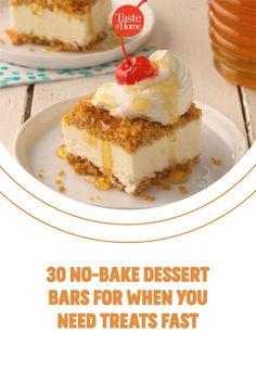 No oven? No problem. Try our no-bake bar recipes. Bar Recipes, Dessert Recipes, Potluck Ideas, Chocolate Squares, Good Food, Yummy Food, Cereal Bars, No Bake Bars, Recipe For Mom
