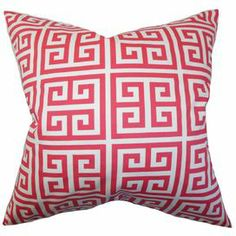 "Cotton pillow with a sherbet pink Greek key motif. Made in the USA.  Product: PillowConstruction Material: Cotton cover and high fiber polyester fillColor: Sherbet pink and whiteFeatures:  Insert includedHidden zipper closureMade in USA Dimensions: 18"" x 18""Cleaning and Care: Spot clean"