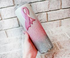 Breast Cancer Awareness Glitter cup, Pink Ribbon glitter tumblers, custom awareness cups, Skinny cups with straw, Cancer treatment care gift Breast Cancer Survivor Gifts, Breast Cancer Crafts, Breast Cancer Awareness, Diy Tumblers, Custom Tumblers, Glitter Tumblers, Custom Cups, Glitter Cups, Tumbler Designs