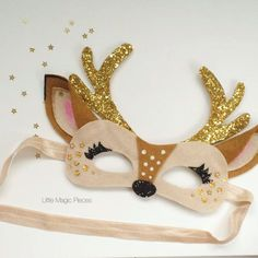 Oh Deer Mask Glitter Antlers Headband, Christmas, Little Magic Pieces