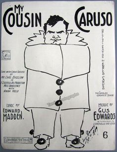 My Cousin Caruso - Large Format Music Sheet 1909