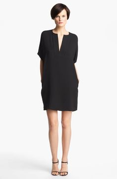 Free shipping and returns on Vince Trapunto Silk Shift Dress at Nordstrom.com. Linear quilting frames the plunging split neckline of an oversized silk-crepe shift with short dolman sleeves adding to the drama.