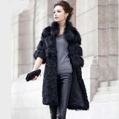 Beautiful Genuine Fox Fur Half-Sleeve Fashion Designer Women's Winter Coat S-5XL