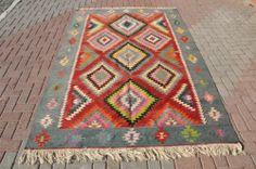 Vintage Anatolian Turkish Wool Kilim Kelim Rug Carpet from OUSHAK 69'' x 126'' | eBay