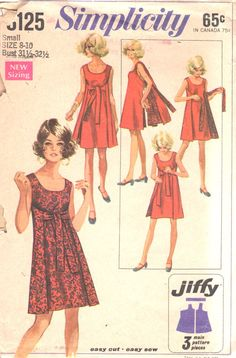 Simplicity 8125 1960s Misses Reversible  Wrap Dress Pattern Jiffy Womens Vintage Sewing Pattern Size Small 8 10 Bust 31 32 OR Medium B 34 36
