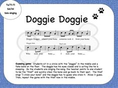 Doggie Doggie- Beat, word rhythm, fun game! Kodaly FREE
