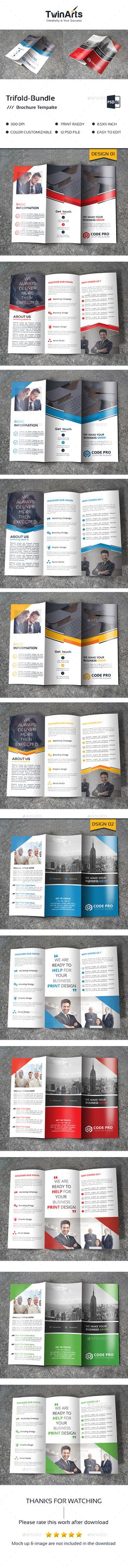 Trifold Brochure Template PSD Bundle. Download here: https://graphicriver.net/item/trifold-bundle_2-in-1/17467847?ref=ksioks
