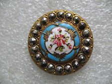 "Large Vintage Antique French ENAMEL & CUT STEEL Brass Button Pink Flower 1-1/16"""