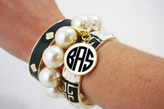 ......in black and white also!  You get three bracelets with the monogrammed charm as a set for one price!