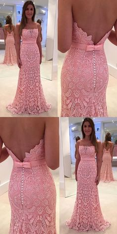 Strapless Long Mermaid Pink Lace Prom Dress #mermaidpromdresses #pinkpromdresses #prom #dresses #longpromdress #promdress #eveningdress #promdresses #partydresses