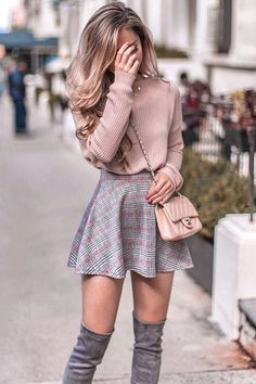 Pastel pink knit sweater, skater skirt and over the knee boots outfit for fall. … Pastel pink knit sweater, skater skirt and over the knee boots outfit for fall. Same sweater in link! Cute Skirt Outfits, Winter Skirt Outfit, Cute Casual Outfits, Girly Outfits, Cute Summer Outfits, Mode Outfits, Skater Skirt Outfits, Skater Skirt Winter, Outfit With Skirt