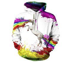 New Women/Men Hoodies 3d Rainbow Horse Printed Pullovers