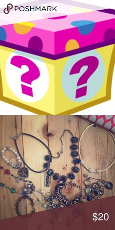 Mystery jewelry bundle I have an insane amount of jewelry! $20 will get you 4 pieces of lovely jewelry from my collection. 1 piece will be new the other 3 will be used but in great condition. I mainly have necklaces but I have some other stuff too. Jewelry