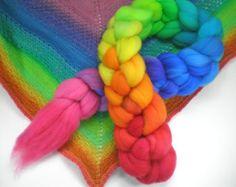 hand dyed superwash roving wool top spinning fiber rainbow progression GRATEFUL DYED 4 oz.