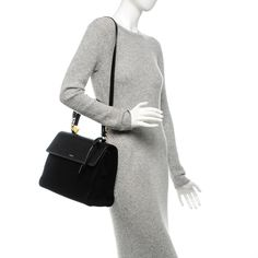 SAINT LAURENT Calfskin Suede Large Moujik Top Handle Bag Black 192242 Saint Laurent Handbags, Rebecca Minkoff, Saints, Turtle Neck, Sweaters, Handle, Black, Tops, Dresses