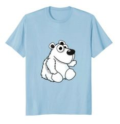Cute Polar Bear T-Shirt for kids and adult bear lovers! A perfect gift for girls and boys on their birthday, on Christmas, or anytime they want to show their love for Polar Bears. Cute Polar Bear, Polar Bears, Bear Clothing, Lucky Blue, Kids Girls, Boys, Bear T Shirt, Cute Tshirts, Pet Clothes