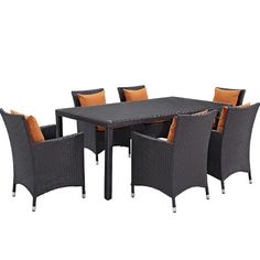 Ryele 7 Piece Outdoor Patio Dining Set with Cushions Cushion Color: Espresso Orange - http://diningsetspot.com/ryele-7-piece-outdoor-patio-dining-set-with-cushions-cushion-color-espresso-orange-725490706/