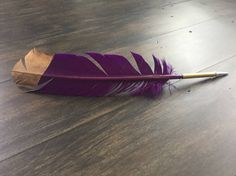 Purple Feather Pen by SoulfullyWrite on Etsy Realtor Gifts, Gold Tips, Ballpoint Pen, Feather, Purple, Etsy, Quill, Feathers, Viola