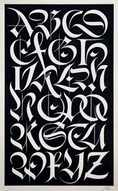 Alphabet of interlocking fracture capitals by Helmut Matheis .- Alphabet of interlocking Fraktur capitals by Helmut Matheis – Alphabet of interlocking fracture capitals by Helmut Matheis – - Graffiti Lettering Alphabet, Calligraphy Fonts Alphabet, Tattoo Fonts Alphabet, Chicano Lettering, Graffiti Font, Graffiti Drawing, Hand Lettering Fonts, Lettering Design, Graffiti Letters Styles