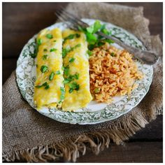 Green Chicken Enchiladas made with Rotisserie chicken and cream cheese.