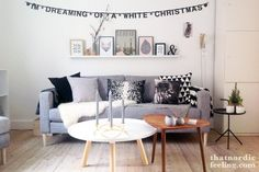 LOVE: Gray couch, sheepskin, white and wood coffee tables, ampersand. 2 Advent, Best Interior, Interior Design, By Lassen, Living Spaces, Living Room, Scandinavian Living, Diy Weihnachten, Nordic Design