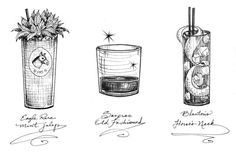 https://flic.kr/p/7xwoWY | cocktail illustrations | Created as drink tickets for a 2009 Kentucky Derby day event at the internationally acclaimed cocktail bar, Drink, in South Boston. The illustrations and handwriting were designed to have a vintage feel, like the drinks themselves - which were served in vintage glassware. The drawings were done by hand, then finished digitally. Tickets were printed on sepia-toned paper.