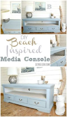 DIY Beach Inspired Media Console using The FAT Paint Co in Antique Wedgewood and with a fabric wrapped shelf