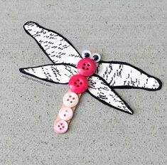 Paper cut Dragonfly With Popsicle Stick And Buttons Craft For Kids