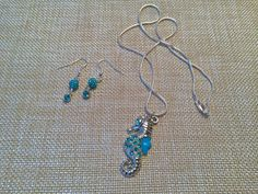 Under the Sea Seahorse Necklace and Earring by EmpyreanByDamaris, $33.99