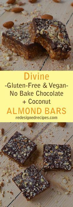No Bake Chocolate Coconut Almond Bars (Vegan, Dairy Free, Gluten Free, Peanut Free)