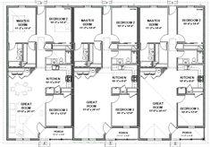 triplex house plans-- 1,387 s/f ea unit---3 beds + 2 ba | ea