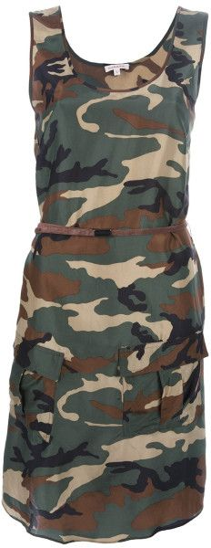 P.A.R.O.S.H. Green Camouflage Silk Dress Green sleeveless silk dress from P.a.r.o.s.h. Featuring a camouflage print, round neckline, two front flap pockets and a rear tie at the waist. Lyst