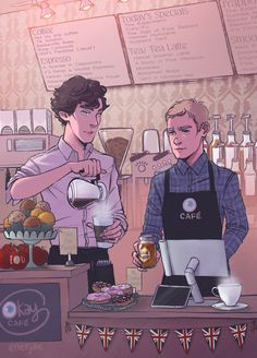Welcome to Surprisingly Okay Cafe☕️ AU where Sherlock and John need to lay low for a while, so they open up a coffee shop to keep Sherlock as busy as anyone can (plus or minus a few simple cases on. Sherlock Holmes, Sherlock John, Watson Sherlock, Jim Moriarty, Sherlock Quotes, Sherlock Season 2, Johnlock, I Have No Friends, Wattpad
