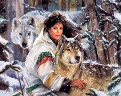 Native maiden & wolves in snow