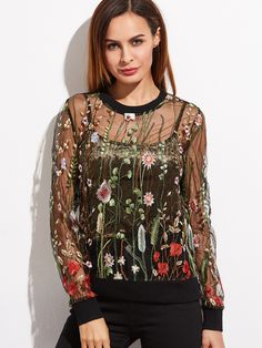 Online shopping for Black Botanical Embroidered Organza Sweatshirt from a great selection of women's fashion clothing & more at MakeMeChic.COM.