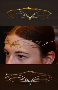 two small Galadriel diadems by Celefindel on DeviantArt Handmade Wire Jewelry, Diy Jewelry, Jewelery, Jewelry Accessories, Fashion Jewelry, Jewelry Design, Jewelry Making, Fairy Cosplay, Cosplay Diy