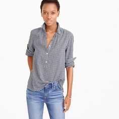 JCrew Gathered popover shirt in microgingham 2016