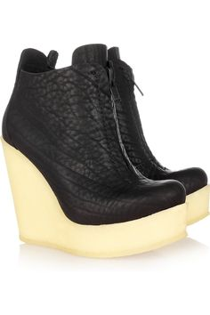 Pedro Garcia | Fedora textured-leather wedge ankle boots | NET-A-PORTER.COM