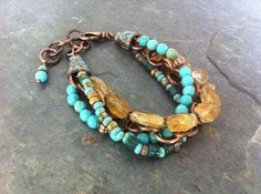 Turquoise Bracelet  Multistrand Turquoise Citrine by esdesigns65, $70.00