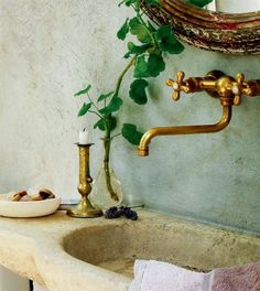Waterworks Etoile wall-mount faucet in unlacquered brass. powder room via Curious Details: Period Living Ideas Baños, Tile Ideas, Period Living, Brass Faucet, Faucets, Brass Bathroom, Brass Tap, Bathroom Lighting, Modern Bathroom
