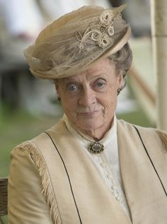 The Dowager Countess at the cricket match. Her hat is marvelous.  Downton Abbey