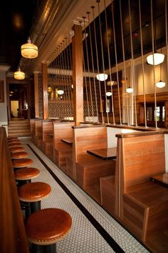 wooden back to back booth seating