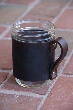 Leather Mason Jar Sleeve Laser Engraved Personalized Custom Insulated Sleeve