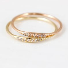 Diamond Tiny Line Band by Melanie Casey, 14k Yellow Gold and 14k Rose Gold variants.