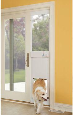 sliding door pet door Sliding Patio Door Automatic Electronic Pet Door $799 from Hammer Sclammer. or whatever. I can't spell that.