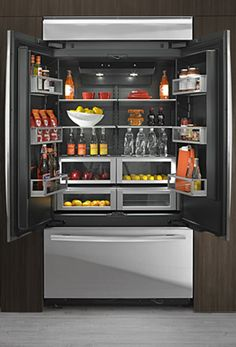 Jenn Air Obsidian Refrigerator. Love the interior color of this fridge.